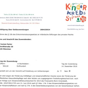Kinderkrebsstiftung Spende