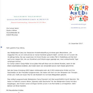 Kinderkrebsstiftung Dankesbrief 2017