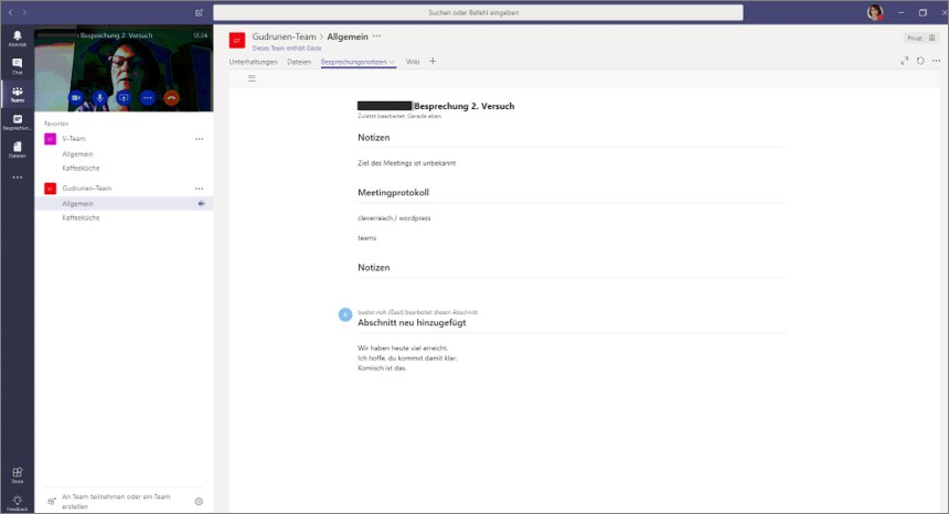 Besprechungsnotizen in Microsoft Teams