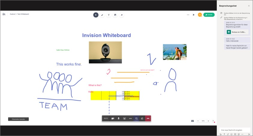 Microsoft Teams versus Skype: das in Teans integrierte Invision Whiteboard