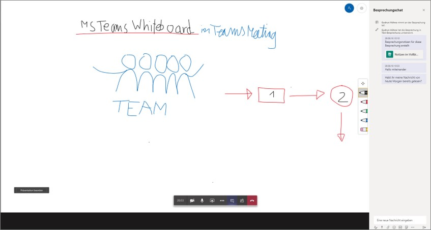 Microsoft Teams versus Skype - hier das im Teams-Meeting integrierte Whiteboard
