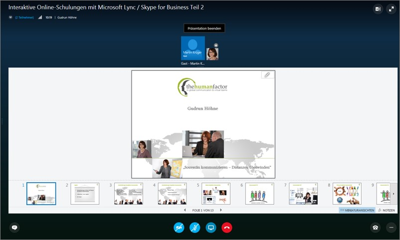 Skype for Business Präsentationen mit Folienvorschau