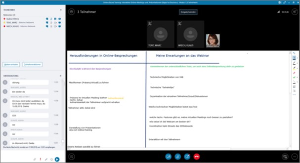 Microsoft Teams versus Skype: das in Skype for Business integrierte Whiteboard
