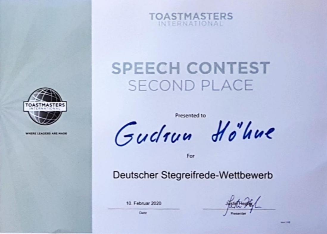 Deutscher Stegreifrede-Wettbewerb 2020 Gudrun Höhne