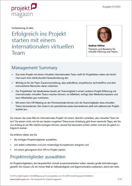 Gudrun Hoehne Publikation Erfolgreicher Projektstart mit einem internationalen virtuellen Team