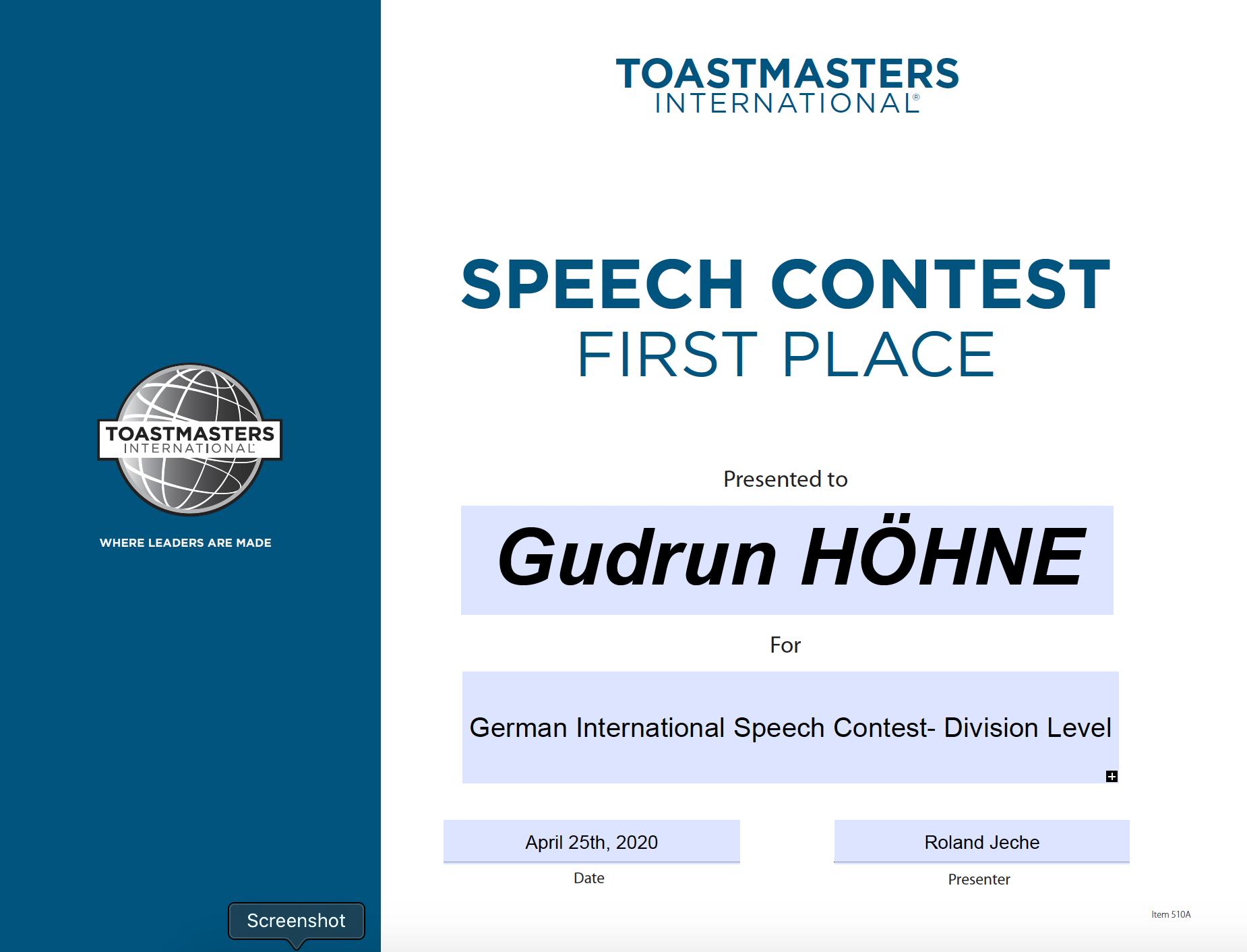 Gudrun Hoehne Redewettbewerb 1. Platz 2020