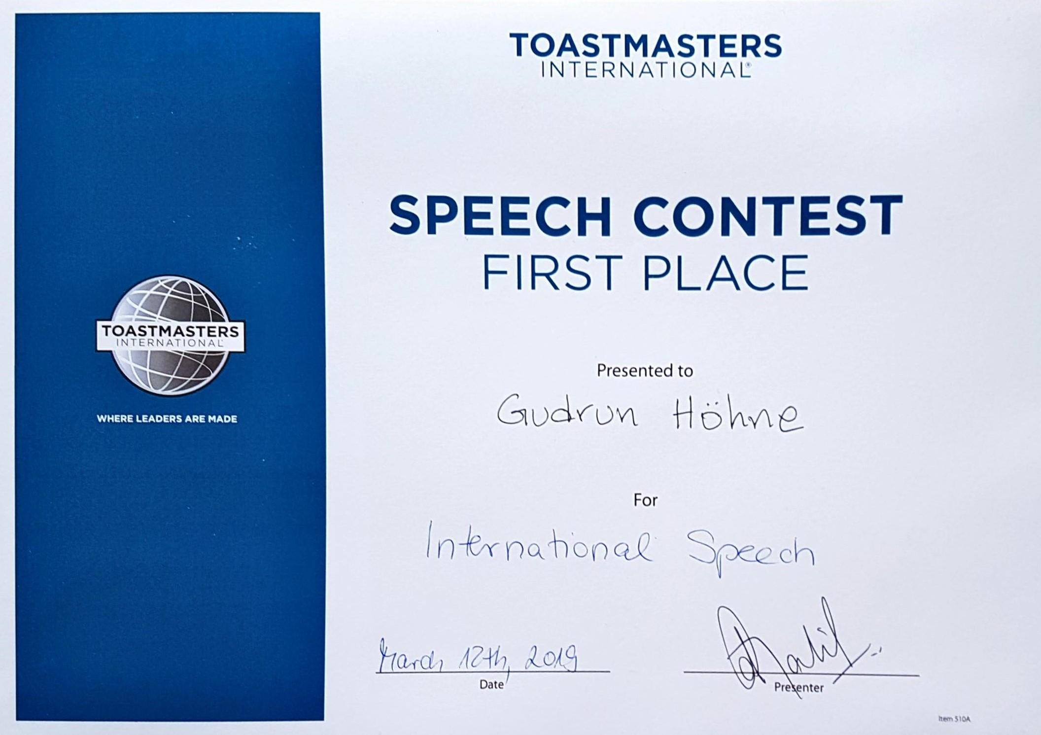 International Speech Contest 1. Platz 2019 Gudrun Hoehne