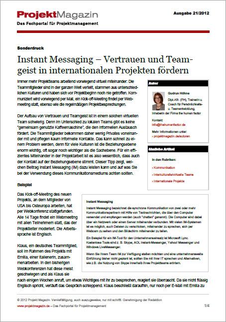 Projektmagazin Artikel Instant Messaging in internationalen Projekten