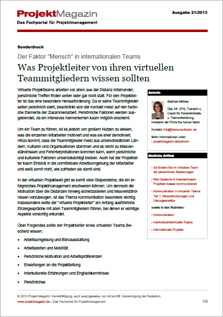 Projektmagazin Artikel Was Projektleiter von ihren virtuellen Teammitgliedern wissen sollten