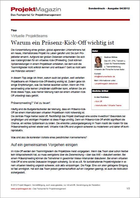 Projektmagazin Warum ein Praesenz-Kick-off wichtig ist